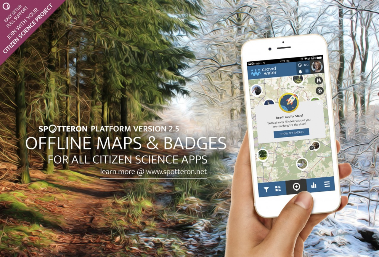 New Version release! SPOTTERON 2.5 brings Offline Maps and Badges for all Citizen Science apps